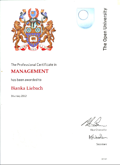 Open University Certificate in Professional Management